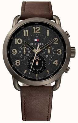 Tommy Hilfiger Mostrador preto com pulseira marrom dos homens Briggs 1791425
