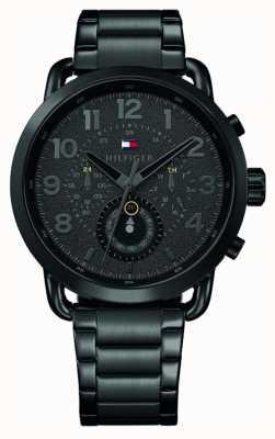 Tommy Hilfiger Briggs mens preto pulseira de aço inoxidável mostrador preto 1791423