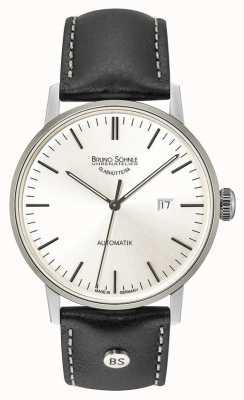 Bruno Sohnle Estugarda grande automático 44mm prata mostrador relógio de couro preto 17-12173-247