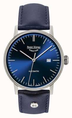 Bruno Sohnle Estugarda grande automático 44mm relógio de couro azul 17-12173-341