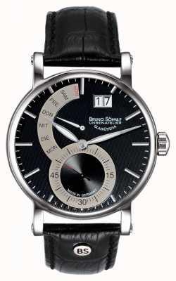 Bruno Sohnle Relógio de couro preto Pesaro ii 43mm 17-13073-781