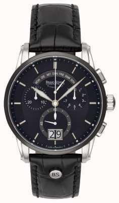 Bruno Sohnle Grandioso 42,5mm relógio de couro preto 17-73117-741