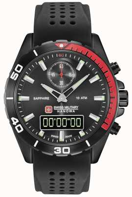 Swiss Military Hanowa Multission preto mens discagem silicone preto 06-4298.3.13.007