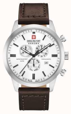 Swiss Military Hanowa Bracelete de couro marrom clássico chrono para homem 06-4308.04.001