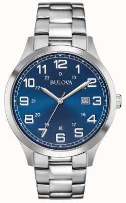 Bulova Mens vestido relógio azul pulseira de aço inoxidável de discagem 96B273