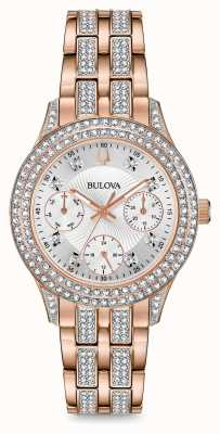 Bulova Relógio de cristal em ouro rosa para mulher 98N113