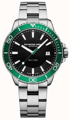 Raymond Weil Relógio de aço inoxidável com moldura verde de tango 8260-ST7-20001