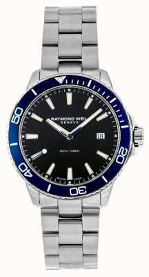 Raymond Weil Relógio de aço inoxidável com moldura azul em tango 8260-ST3-20001