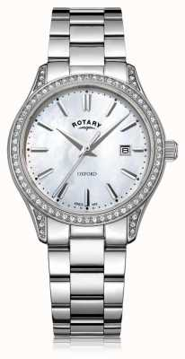 Rotary Relógio de quartzo de aço inoxidável branco de oxford das mulheres LB05092/41