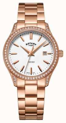 Rotary Womens oxford subiu relógio de quartzo de aço inoxidável de ouro LB05096/02