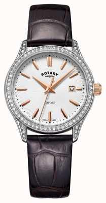 Rotary Relógio de quartzo em aço inoxidável com pulseira de couro oxford para senhora LS05092/02