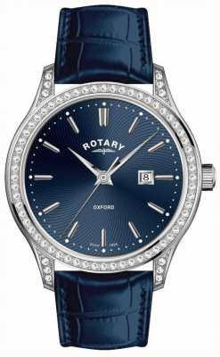 Rotary Relógio de quartzo azul pulseira de couro oxford das mulheres LS05092/05