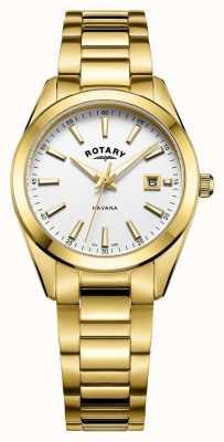 Rotary Womens havana banhado a ouro relógio branco LB05081/02