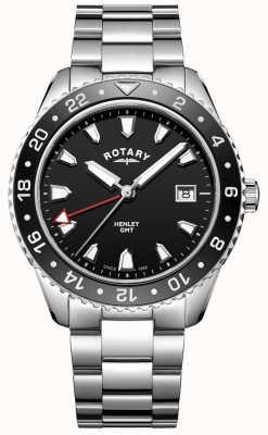 Rotary Mens henley preto relógio de quartzo de aço inoxidável GB05108/04