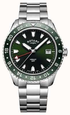 Rotary Mens henley verde aço inoxidável relógio de quartzo GB05108/24