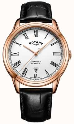 Rotary Mens cambridge subiu ouro automático GS05252/01