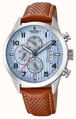 Festina Mens esportes cronógrafo relógio pulseira de couro marrom F20271/4