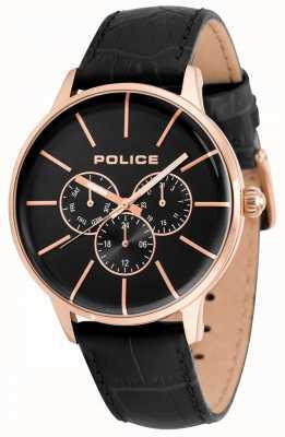 Police Mens seift pulseira de couro preto mostrador preto 14999JSR/02