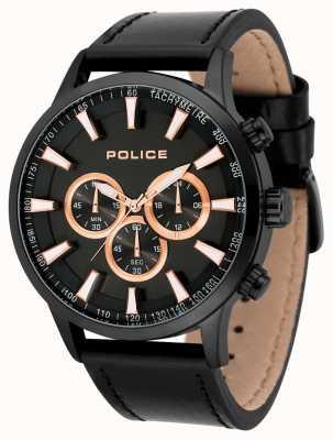 Police Mens momentum pulseira de couro preto mostrador preto 15000JSB/02