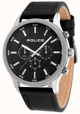 Police Mens pace pulseira de couro preto mostrador preto 15002JS/02