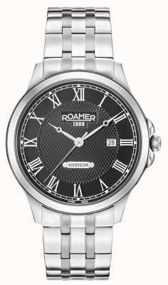 Roamer Mens windsor pulseira de aço inoxidável mostrador preto 706856415270