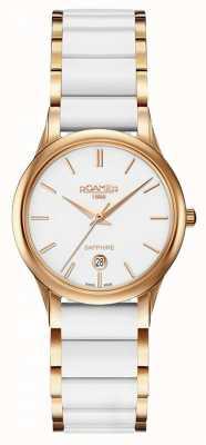 Roamer Womens c-line relógio de cerâmica branca caixa de ouro rosa 657844492560