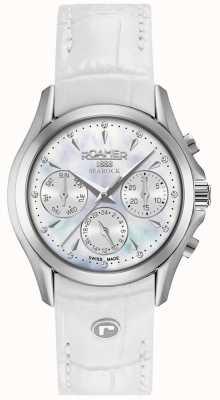 Roamer Bracelete de couro branco Womens Searock Cronógrafo 203901411002