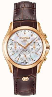 Roamer Bracelete de couro marrom cronógrafo searock para mulher 203901491002