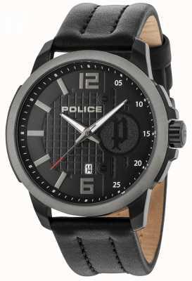Police Mens squad caixa preta pulseira de couro de discagem 15238JSBU/02