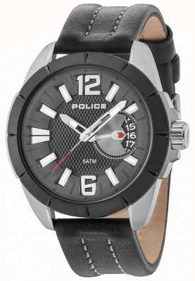 Police Mens oitcher gun case pulseira de couro preto de discagem 15240JSUB/02