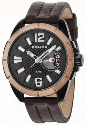 Police Mens jarro marrom caso preto pulseira de couro de discagem 15240JSBBN/02