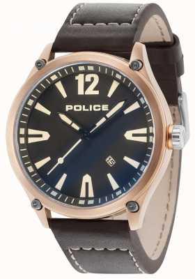 Police Mens denton subiu caso de ouro pulseira de couro de discagem preta 15244JBR/02