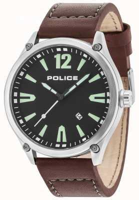 Police Mens denton prata caso preto pulseira de couro de discagem 15244JBS/02