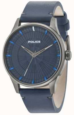 Police Mens jet 3 mãos pulseira de couro azul 15038JSU/03