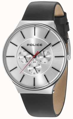 Police Seattle prata caso prata mostrador pulseira de couro preto 15044JS/04
