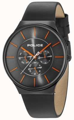Police Caixa preta de Seattle cinza mostrador pulseira de couro preto 15044JSB/13A