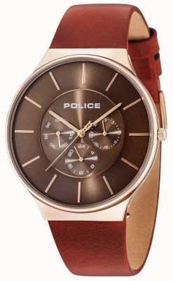 Police Seattle rose gold case marrom mostrador pulseira de couro marrom 15044JSR/12