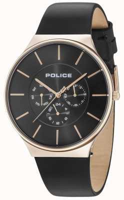 Police Seattle rosa caixa de ouro mostrador preto pulseira de couro preto 15044JSR/02