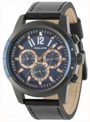 Police Scrambler pulseira de couro preto mostrador azul 14528JSUBL/03