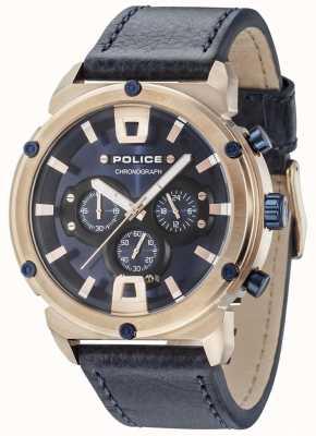 Police Armadura ii subiu caixa de ouro mostrador azul escuro pulseira azul escuro 15047JSR/03