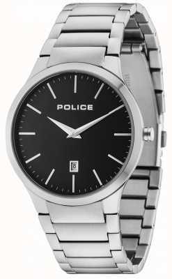 Police Mostrador preto pulseira de prata de horizonte 15246JS/02M