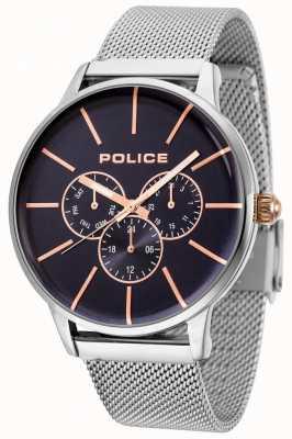 Police Pulseira de malha de ouro rosa swift com mostrador preto 14999JS/03MM