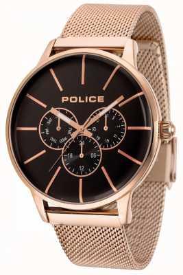 Police Pulseira de malha de ouro rosa swift com mostrador preto 14999JSR/02MM