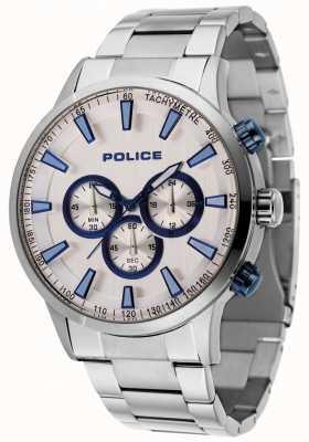 Police Pulseira de aço Momentum mancha com mostrador prateado 15000JS/04M