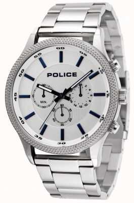 Police Pulseira de aço inoxidável ritmo com mostrador prateado 15002JS/04M