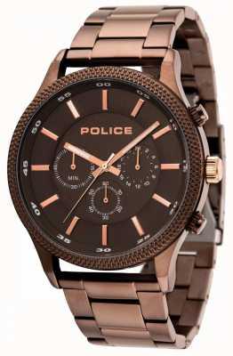 Police Pulseira de ritmo marrom com mostrador cinza 15002JSBN/13M