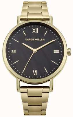 Karen Millen Mãe negra de pulseira de aço inoxidável de ouro de discagem pérola KM159BGM