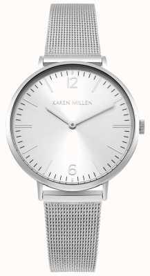 Karen Millen Mostrador branco com pulseira de aço inoxidável prateado KM163SM