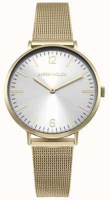 Karen Millen Mostrador branco sunray com pulseira de aço inoxidável ouro KM163GM