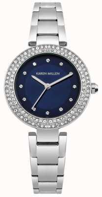 Karen Millen Mostrador sunray azul marinho com pulseira de aço inoxidável KM164USM